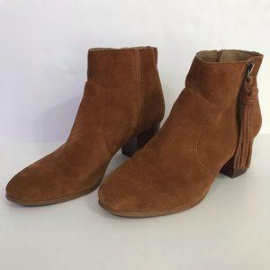 Tahari brown suede booties with tassel zip 7.5